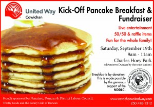 Cowichan United Way, 2015, Pancake kickoff, fundraise
